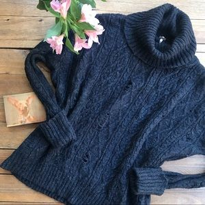 Free People Black Complex Cable Pullover Sweater